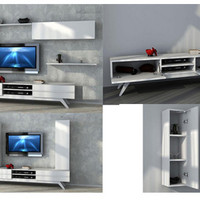 DREAM high gloss white TV unit with wall shelving