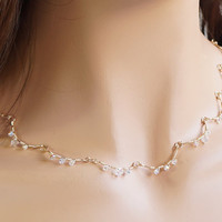Swarovski Crystals Wave Linked Necklace, Backdrop Crystal Necklace, 14kt Gold Filled Handmade Wire Jewelry