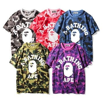 Bape Aape new camouflage men and women with a loose T-shirt F