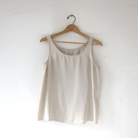 Vintage silk tank top. sheer buff silk top. minimalist modern tank.