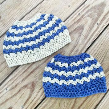 Blue and Gray Messy Bun Pony Tail Crochet Hat Mommy and Me or Sister and Me