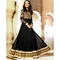 Black Georgette Anarkali Suits With Dupatta - TheEthnicWear