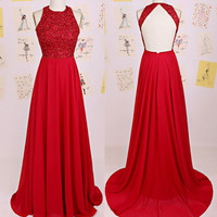 Red Halter Backless A-Line Prom Dresses