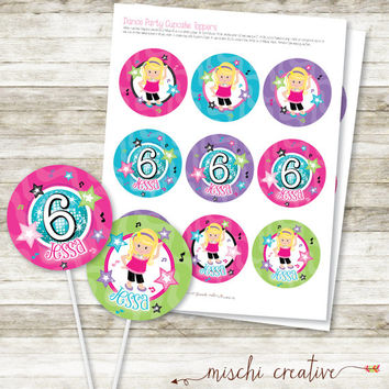 Dance Party Birthday Dancing Girl DIY Printable Cupcake Toppers
