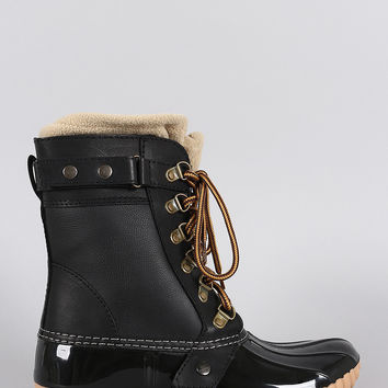 Fleece Ankle Cuff Lace Up Duck Ankle Boots