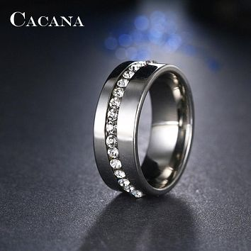 Stainless Steel Rings Slash A Line Of CZ Jewelry NO.