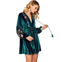 Clementine Velvet Embroidered Dress/Tunic Top