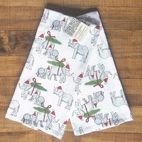 CYNTHIA ROWLEY Set of 2 Elephant Christmas  Kitchen Towels Dish Towels Elephants