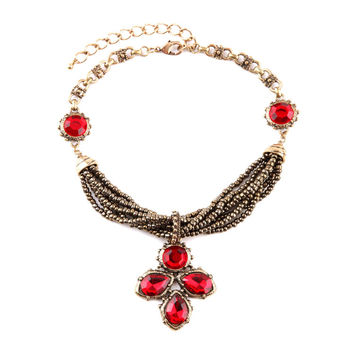 Red Crystal Tribe Statement Necklace