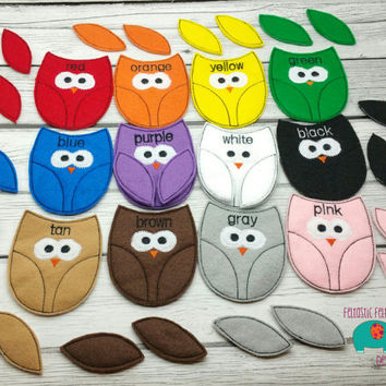 Owl color matching game embroidered, educational, montessori, memory, matching, learning, color game, bird, primary colors, color mixing toy