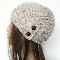 Hand Knit  Hat- winter hat - Womens hat  Cloche hat  in  Oatmeal Beige  Winter Christmas Accessories  Fall Autumn Winter  Fashion