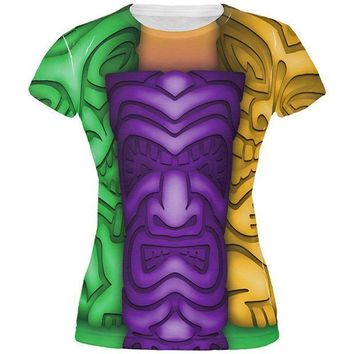 PEAPGQ9 Mardi Gras Tiki Glass Party All Over Juniors T Shirt