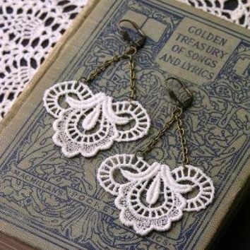 calliope lace earrings ivory by whiteowl on Etsy