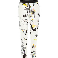 River Island Womens White abstract print cigarette pants