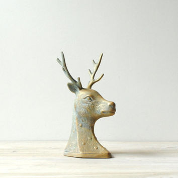 Vintage Brass Deer Head Statue, Deer Bookend