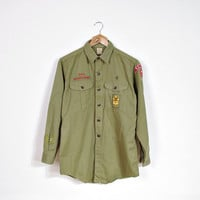 60s Vintage Boys Scouts of America Official Shirt / Firts Class Senior Sanforized Wear / Patches Badges
