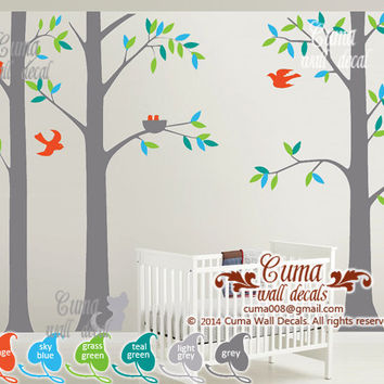 tree wall decal birds nature Cat birds Vinyl wall decals wall decal nursery wall sticker children -tree cat birds Z222 Cuma