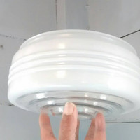 Ceiling Light Fixture Shade, Replacement, Glass, Globe, White, Round, 50's, Vintage