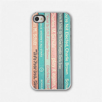 Vintage Books iPhone 4 Case, iPhone 4 Cover, Retro, 60s, Charlie Brown, Snoopy, Childhood, Nostalgic. Teal, orange, blue.