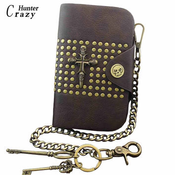 Gothic Punk Heavy Metal Skull Leather Chain Wallet Brass Long Keychain