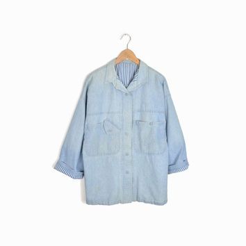 Vintage Chambray Denim Artist Shirt with Striped Lining - women's l/xl