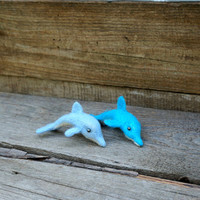 Felted dolphin Nautical figurine Sea animals fish Ocean Souvenir Sea Wool Figurine Cute soft sculpture Felted dolphin  Miniature Figurine