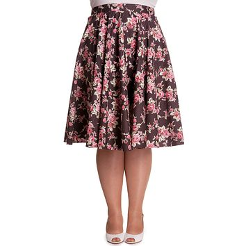 Hell Bunny Vintage Style Romantic Western Pink Roses Brown Flare Swing Skirt