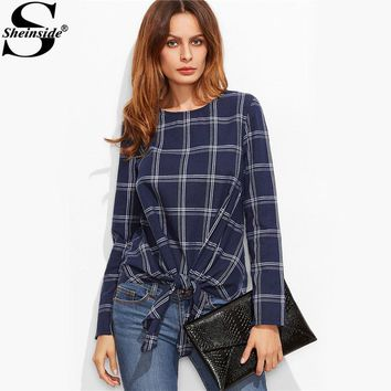 Navy Plaid Grid Knot Front Round Neck Long Sleeve Top With Bow Casual Blouse
