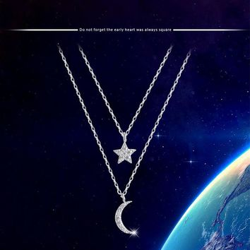 925 Sterling Silver Moon Stars Multilayer Chains Necklaces & Pendants For Women Romantic Style Cubic Zirconia Jewelry