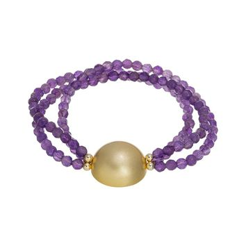 Gold Over Sterling Silver Dome Amethyst Beaded Stretch Bracelet