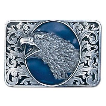 Sports Accessories - Eagle Head with Scroll Enameled Belt Buckle
