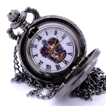 Small Size Steampunk Vintage Harry Potter GRYFFINDOR Mens Quartz Pocket Watch Pendant Necklace Chain Kids Toys relogio de bolso