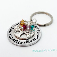 Hand stamped personalised family tree crystal birthstone keyring