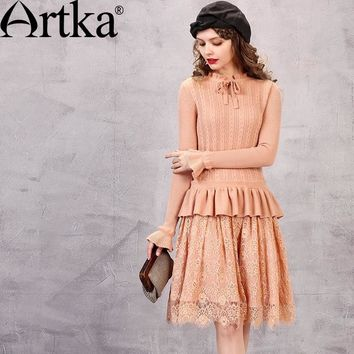 ARTKA Women's Autumn New Solid Color Lace Patchwork Knitted Dress Vintage Stnad Collar Petal Sleeve Dress With Ruffles LB10768Q