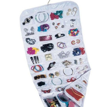 Equal Sign 80-Pocket Hanging Jewelry and Accessories Organizer (White)