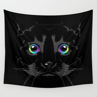 Black cute cat Wall Tapestry by Oh Wow!