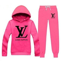 Louis Vuitton LV Popular Women Casual Print Hoodie Top Sweater Pants Trousers Set Two-Piece Sportswear Rose Red I/A