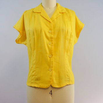 Vintage Retro 80s Bright Golden Yellow Pleated Blouse