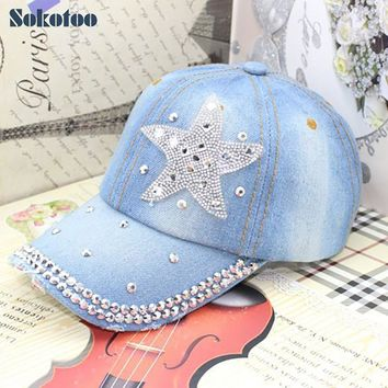Sokotoo Women's fashion five point star rhinestone baseball cap Lady's summer casual denim hat Female Free shipping