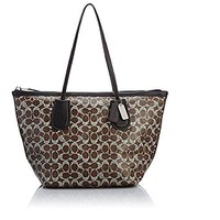 Coach Coated Linen Signature Taxi Zip Tote 33504