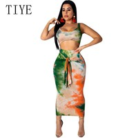 TIYE Summer Two Piece Sexy Maxi Dress Women Clothes Sleveless Bandage Bodycon Beach Dress Vintage Tie Dye Print Party Dresses