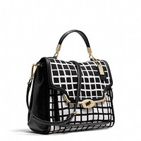 MADISON SMALL SADIE FLAP SATCHEL IN GRAPHIC PRINT FABRIC