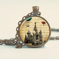 Pendant with Chain - Saint Basil's with vintage hot air baloons