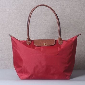 ONETOW Longchamp New Le Pliage Nylone Tote Handbag Red Large Authentic France