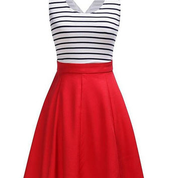 Back Faux Wrap Stripe Cut Out Skater Dress