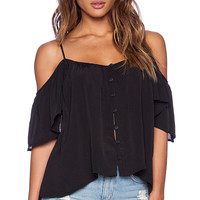 AMUSE SOCIETY Lena Woven Top in Black