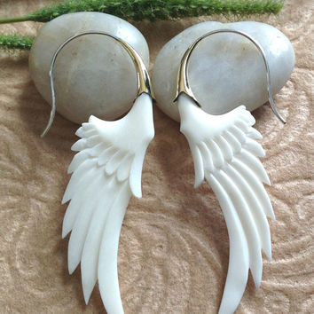 "Tribal Earrings, ""Messenger Wings"" Natural, Bone, Brass Tops, Sterling Silver Posts, Handcrafted With Love"