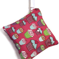 Heat Sealed Wet Bag with Front Pocket and Side Strap- Wet/Dry Bag ProCare Snap Strap- Cupcake Decor Weight Fabric- Holds 3-4 Cloth Diapers