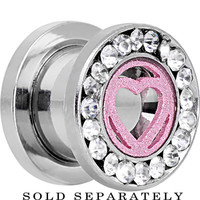 00 Gauge Stainless Steel Clear Gem Pink Heart Tunnel Plug | Body Candy Body Jewelry