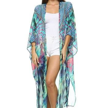 Swarovski Embellished Audell Silk Kaftan Cover-up